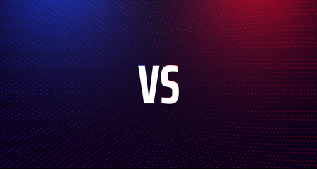 Versus - confrontation, red and blue shiny screen with VS sign. Battle, business confrontation, rivalry, match, challenge, sport, competition. Vector background. Ilustracje wektorowe