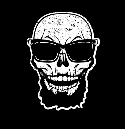 White skull with beard in sunglasses isolated on black background. Decoration for fabric, clothes. T-shirt print, trendy design for youth, teenagers, hipsters. Vector illustration.