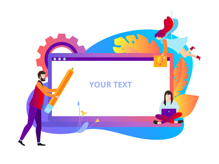 Colorful background with laptop and people creating website. Web development, application programming and design, online trainings. Vector illustration with space for text, flat style. Illustration