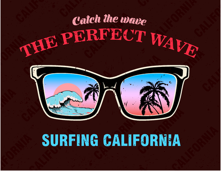 Sunglasses with palm trees and wave. Decoration for fabric, clothes. T-shirt print, surfing California inscription, trendy summer design for youth, teenagers. Vector illustration.