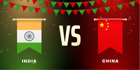 India VS China: teams presentation for sports games, competitions and battles. Screen with national flags and confetti. Vector background.
