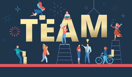 Team blue poster. People working on project together and create business. Vector background, flat style.  Çizim