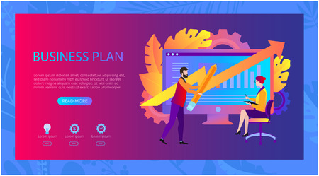 Business plan. Presentation, landing page or webpage design template with computer, people and space for text. Investments, time, money, resources, employees, marketing. Vector background, flat style.