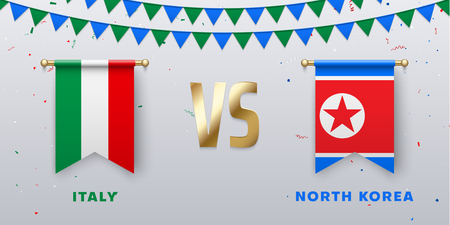 Italy VS North Korea: teams presentation for sports games, competitions and battles. Screen with national flags and confetti. Vector background. Foto de archivo - 124973604