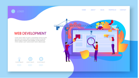 Web development. Landing page template with laptop and people creating website. Computer technologies, technical support, web application programming and design. Vector, flat style. Vektorové ilustrace