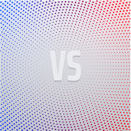Versus - confrontation, spectrum poster with white VS sign. Pop art style. Battle, business confrontation, rivalry, match, challenge, sport, competition. Vector background.