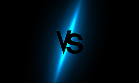Versus - confrontation, shiny screen with blue VS sign. Battle, business confrontation, rivalry, match, challenge, sport, competition. Vector background. Banque d'images - 117644965