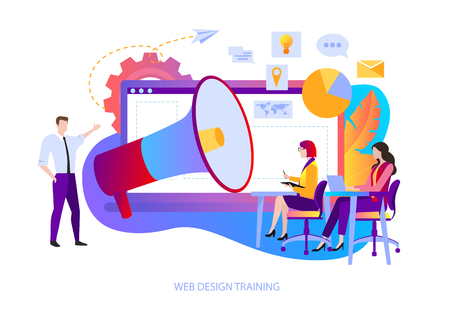 Web design training for designers and app coders. People learn to create content for website, new marketing, online promotion and smm technologies. Vector illustration, flat style.