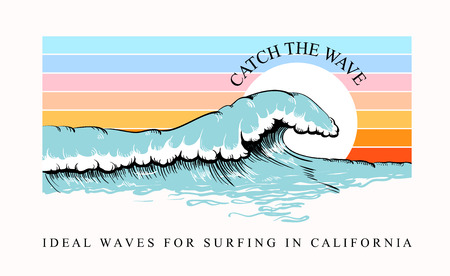 Colorful T-shirt print with wave and surfing California inscription, trendy summer design for youth, teenagers, surfers, poster. Decor for fabric, textile, clothes. Vector illustration. 写真素材 - 124904654