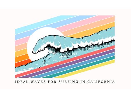 Bunter T-Shirt-Print mit Wellen- und Surf-California-Aufschrift, trendiges Sommerdesign für Jugendliche, Teenager, Surfer, Poster. Dekor für Stoff, Textil, Kleidung. Vektor-Illustration. Vektorgrafik
