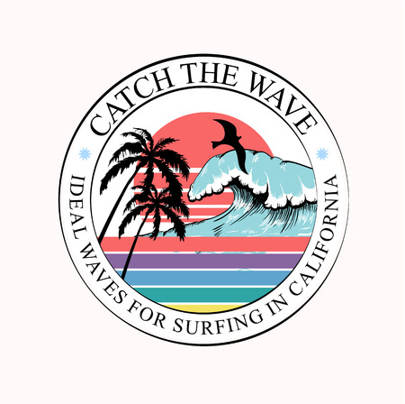 Colorful round T-shirt print or label with wave, palm trees and surfing California inscription. Trendy summer design for youth, teenagers, surfers, poster. Decor for textile, clothes. Vector illustrat  イラスト・ベクター素材
