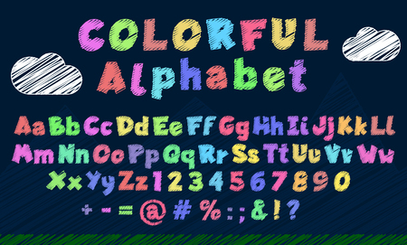 Multi-colored latin cartoon alphabet and figures. Hand-drawn style letters and figures template for decoration and sign board creation. Font design for kids, vector.