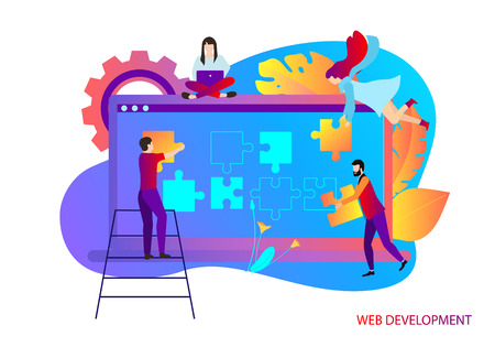 Web development. Template with laptop and people creating website. Computer technologies, IT, internet, web application programming and design. Vector illustration, flat style.