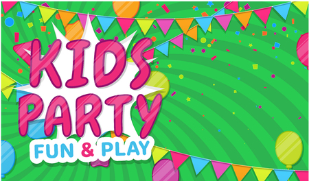 Kids party. Green poster with flags for kids zone in cartoon style. Place for fun and play, children's area for leisure activity. Vector illustration.