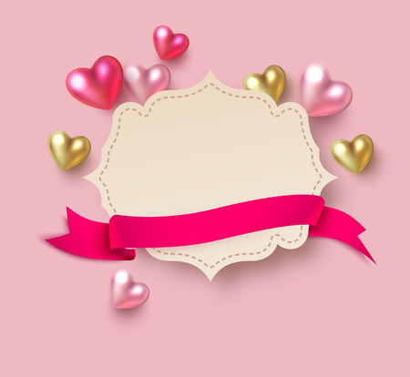Paper greeting card template with colorful 3d hearts and pink satin ribbon for St. Valentines Day design. Vector background.