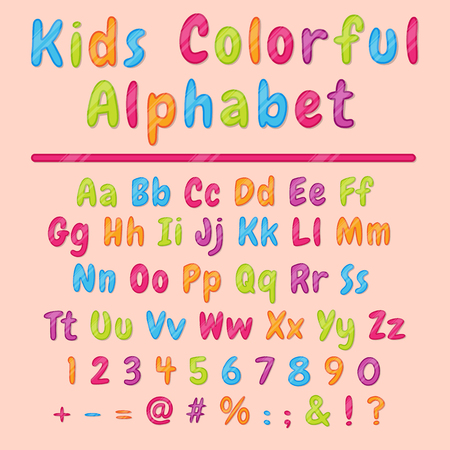 Colorful latin cartoon alphabet and figures. Bright letters and figures template for decoration and sign board creation. Font design for kids, vector. Ilustração