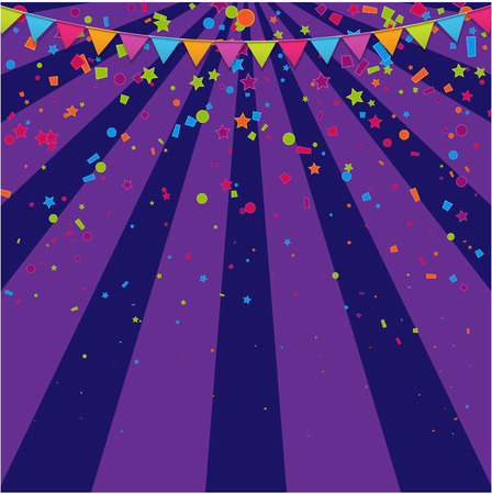 Purple festive poster with bright colorful flags and confetti. Design for kids party, birthday in cartoon style, decor for kids playroom, childrens area, leisure activity. Vector paper background.