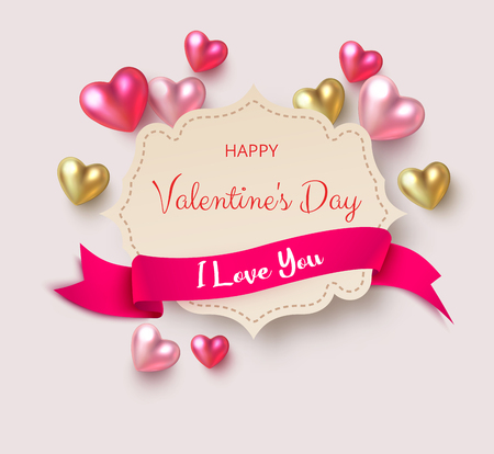 Happy St. Valentines Day. I love you. Paper greeting card with colorful 3d hearts and pink satin ribbon. Vector background. 일러스트