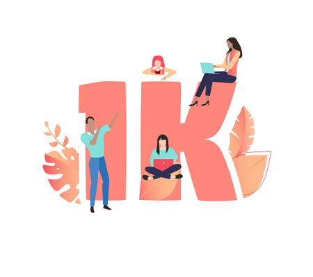 1K likes, followers, online social media banner with number and people. Vector illustration, flat style.