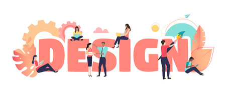 Design, coral poster with people creating new project. Teamwork, art, web and graphic design, trendy solutions for business. Vector background, modern color, flat style.