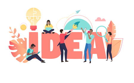 Business idea, coral poster with people working together. Brainstorm, cooperation, teamwork and creative solution. Vector background, trendy color, flat style.   Ilustrace