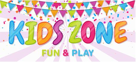 Bannière colorée lumineuse avec des drapeaux et des confettis pour la zone des enfants en style dessin animé. Lieu d'amusement et de jeu, salle d'enfants, espace enfants pour les loisirs. Illustration vectorielle.