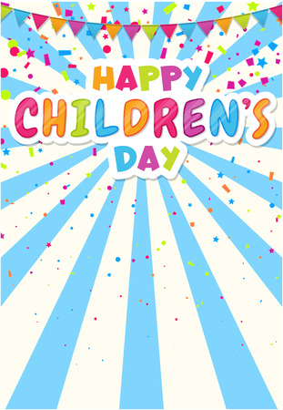 Happy Children's Day. Colorful poster with flags and confetti for kids party, birthday in cartoon style. Place for fun and play, children's area for leisure activity. Vector background.