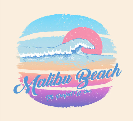Colorful poster with wave and Malibu beach inscription, summer paradise. Decor for fabric, textile, clothes. T-shirt print, trendy design for youth, teenagers. Vector illustration.