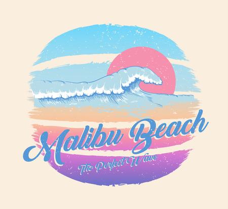 Kolorowy plakat z napisem fala i plaża Malibu, letni raj. Dekor na tkaniny, tekstylia, ubrania. T-shirt z nadrukiem, modny design dla młodzieży, nastolatków. Ilustracja wektorowa.