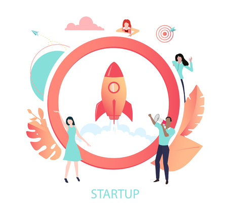 New business start up. Coral icon with rocket and people. Teamwork, development, marketing. Vector illustration in trendy living coral color, flat style design. Imagens - 124573556
