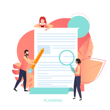 Planning, business project, goals and ideas, time management. Presentation or web page design template with people and document in trendy living coral color. Vector illustration, flat style.