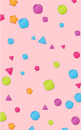 Pink poster with bright colorful confetti. Design for kids in cartoon style, for kids room, children's area for fun and play, leisure activity. Vector paper background.