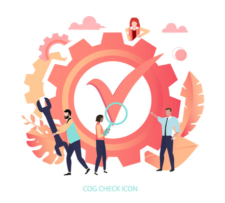 Cog check icon. Confirmation, verification, settings. Approved application, completed request. Template with check mark and people. Vector, living coral color, flat style.