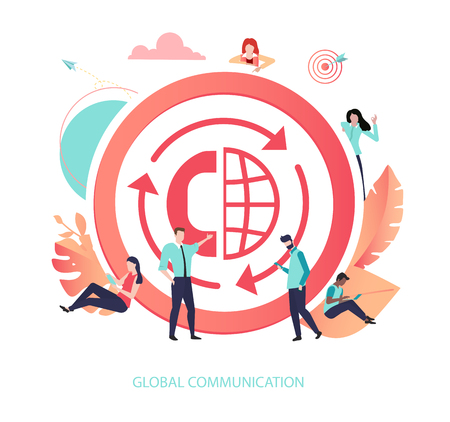 Global communications, network, mobile and digital technologies. Round sign or icon with people. Vector illustration in trendy living coral color, flat style. Illustration
