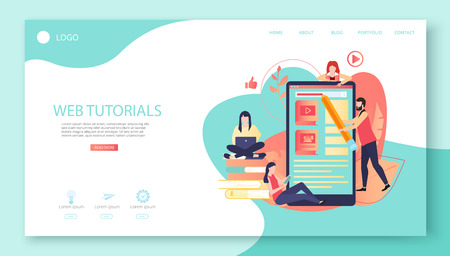 Web tutorials. Electronic textbook, distance and e-learning. Presentation, web or landing page template with smartphone, people and space for text. Vector background, flat style. Illustration