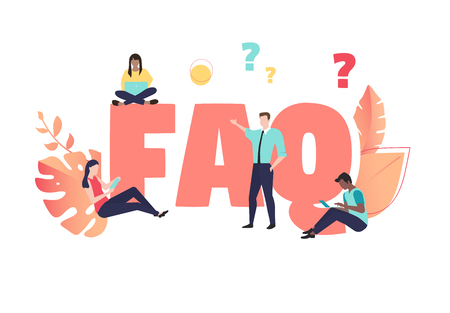 FAQ - frequently asked questions sign or poster with people on white background. Vector paper illustration in trendy living coral color, flat style.