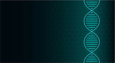 Abstract DNA molecule, neon helix on green background. Medical science, genetic, biotechnology, chemistry, biology. Vector illustration.