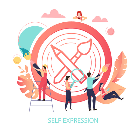 Self expression. Round sign or icon with paint brush and people. Inspiration, creation, art, craft, hobby, lifestyle. Vector illustration in trendy living coral color, flat style.