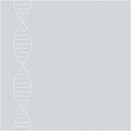 Abstract DNA molecule, white helix on grey background. Medical science, genetic, biotechnology, chemistry, biology. Vector illustration.