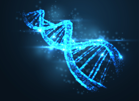 Abstract luminous DNA molecule, neon helix on blue background. Medical science, genetic, biotechnology, chemistry, biology. Vector illustration. Illustration