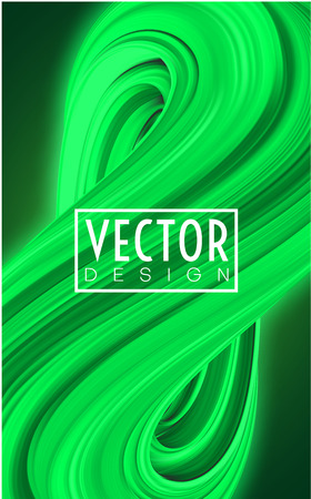 Green poster with abstract brushstroke design. Creative template with gouache, watercolor, acrylic painted pattern. Vector illustration.
