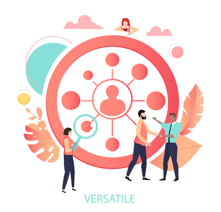 Cooperation, communication, versatile. People meet, agreed, work together, interact. Coral icon or sign with network and people. Vector illustration, flat style.