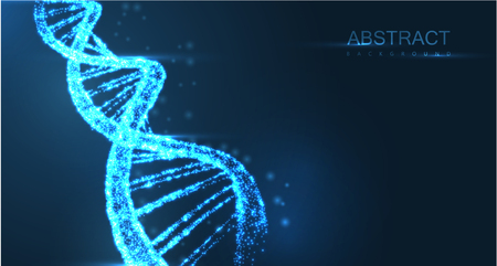 Abstract luminous DNA molecule, neon helix on blue background. Medical science, genetic, biotechnology, chemistry, biology. Vector poster.