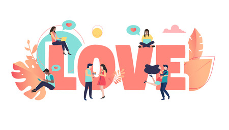 Love sign or poster with people on white background. Vector paper illustration in trendy living coral color, flat style. 스톡 콘텐츠 - 124326519