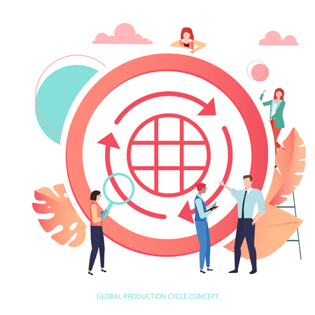 Global production cycle concept. Round sign or icon with people. Vector illustration in trendy living coral color, flat style. 일러스트