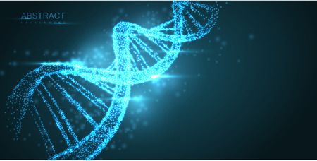 Abstract luminous DNA molecule, neon helix on green background. Medical science, genetic, biotechnology, chemistry, biology. Vector poster. Illustration
