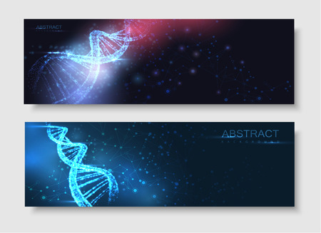 Abstract banner with luminous DNA molecule, neon helix on blue background. Medical science, genetic, biotechnology, chemistry, biology. Vector poster.