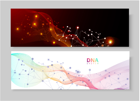 Abstract banners with DNA molecule, helix pattern on red or white background. Medical science, genetic, biotechnology, chemistry, biology. Vector illustration. Ilustração