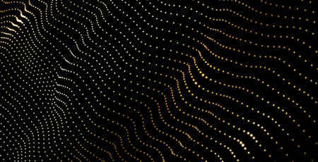 Abstract background with golden neon wavy digital pattern. Creative futuristic design, led light. Vector illustration.