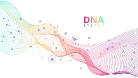 Fond abstrait blanc avec des molécules d'ADN, système génétique. Sciences médicales, génétique, biotechnologie, chimie, biologie. Affiche de vecteur.